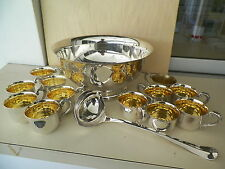 SHERIDAN 12'' SILVERPLATED FOOTED PUNCH BOWL,12 CUPS AND DUAL SPOUT LADLE