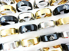 10pcs Mixed Color Superman Stainless Steel Fashion Men's Rings Wholesale Lots