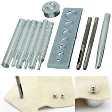 11pcs Leather Craft Tool Die Punch Snap Rivet Setter Kit DIY Leathercraft Tools