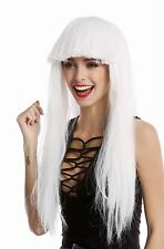 Parrucca, Parrucca Donna Carnevale Halloween lunga liscia Pony bianco Disco Glam