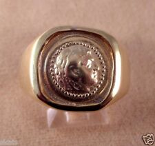 Greek Alexander the Great Coin Silver (925) (24k Vermeil ) Men's Ring skaisSP15