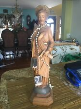 Antique Saint Statue Hand Carved Italy Wood Patina Catholic Altar Religious