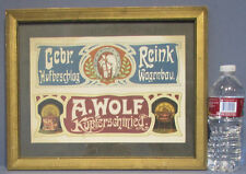 AUTHENTIC & OLD BEAUTIFUL ART NOUVEAU FRAMED PAPER ADV SIGN * GERMAN BEER M499