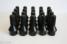 20 X M12 X 1.5 27MM THREAD BLACK 60 DEGREE TAPERED ALLOY WHEEL BOLTS LUG NUTS