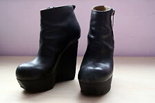 "Acne ""Hybria"" Platform Wedge Ankle Boots Black Leather Size 38 (US 7.5-8)"