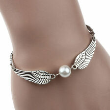 RETRO SILVER INFINITY & WHITE PEARL ANGEL WINGS PEACE BRACELET,FREE POST IN OZ