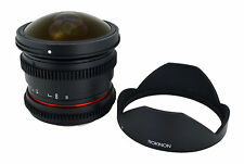 New Rokinon De-clicked HD 8mm T3.8 Cine Fisheye Lens w/ Removable Hood f/ Sony A