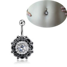 Sexy Retro Flower Crystal Navel Belly Button Ring Bar Body Piercing Jewelry