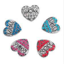 5pcs Randomly Mom 3D Drill Snaps Chunk Charm Button for Noosa leather Bracelets
