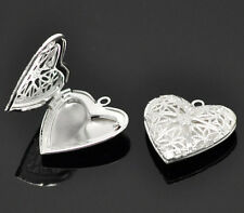 10 Silver Plated Heart Shape Photo Frame Locket Pendants 26x26mm