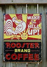 Coffee Distressed Retro Tin Sign Vintage Rooster Kitchen Wall Art Home Decor New