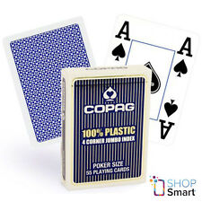 COPAG 4 CORNER 100% PLASTIC POKER PLAYING CARDS CASINO DECK JUMBO INDEX BLUE NEW