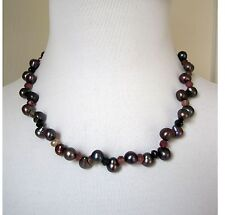 Genuine Black Freshwater Pearl Necklace with Genuine Tourmaline Pink Green Beads