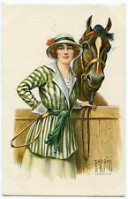 ILLUSTRATEUR RAPPINI. JOLIE FEMME ET SON CHEVAL. PRETTY WOMAN. HORSE.