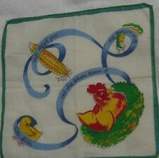 Child's What Do Hens Dream Of Green Edge Handkerchief