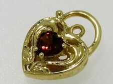 Genuine 9K 9ct Solid Gold Natural  Garnet Heart Filigree PADLOCK Clasp Pendant