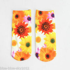 DAHLIA FLOWER Trainer 3D Photo SOCKS UK Shoe Size 3-7 1pr Cotton Blend UK Seller