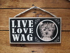 "Yorkie Sign Live Love Wag Dog Wood Plaque 5""x10""  Made In USA"