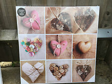 NEW VINTAGE HEART LARGE BROWN WICKER LOVE HEART CANVAS WALL ART PICTURES NEW