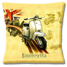 "NEW VINTAGE RETRO LAMBRETTA SCOOTER UNION JACK LONDON 16"" Pillow Cushion Cover"