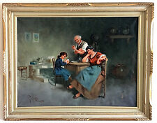 Antique DUTCH INTERIOR Fine Large REALISM Masterpiece SIGNED OIL PAINTING Listed