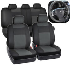 Gray/Black PU Leather Car Seat Covers & Two-Tone Sport Grip Steering Wheel Cover