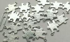10 PIECE WHOLESALE LOT PUZZLE PIECE CHARM AUTISM AWARENESS CHARMS SHINY