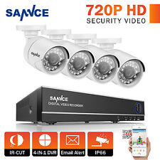 SANNCE 1080N 4in1 8CH DVR 4x White 720P IR Night Vision Camera Security System