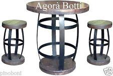 Botti/botte Tavolo e sgabelli in ferro zincato e legno.