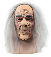MENS OLD MAN WIZARD LATEX MASK & GREY HAIR HALLOWEEN FANCY DRESS GHOST COSTUME