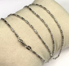 18k Solid White Gold Italian Beaded Chain Necklace, Diamond Cut, 7.16grams. 18""