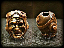 *CRAZY PILOT* UNIQUE HANDMADE Bronze Paracord Knife Leather Lanyard Bead / Beads