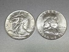 ESTATE LOT ALL RARE GEM BU SILVER WALKING LIBERTY+FRANKLIN HALF+ALL BU #15