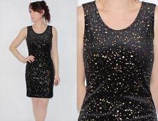 Vintage 90's Black Gold SPOTS PRINT VELVET GRUNGE Sleeveless SHORT PARTY Dress 8