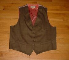 Vintage Dapper New River Lapel Waistcoat Vest Wool/Acetate Bronze Men M Sharp!!!