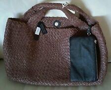 Falorni FALOR La Borse ITALIAN BROWN Hand Woven Texture Leather Tote/Handbag~NWT