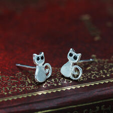 Womens Cute Allergy Free Silver Plated Xmas Gift Cat Drawing Earrings Jewelry BA