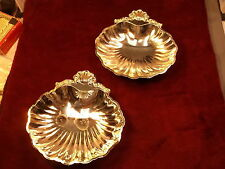 NICE PAIR OF OLD VTG JAPAN MADE SILVERPLATED DECORATIVE CANDY/NUT BOWLS, SHELLS