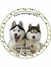 "Personalised Husky Dogs with Quote 7.5"" Edible Wafer Paper Cake Topper puppy"