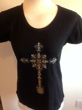 Donna Nero T-shirt di cotone con motivo Luccicante Croce Taglia Small