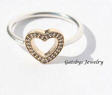 Pandora Symbol of Love Heart Ring CZ 14K & Sterling Silver 190925CZ Size 5/50