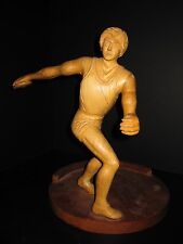 VINTAGE AMERICAN FOLK ART TRACK & FIELD DISCUS THROWER FIGURE WOOD CARVING SPORT