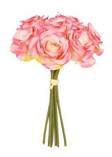 26cm Pink Rose 7 Stem Bouquet Silk Artificial Flowers Wedding Memorial