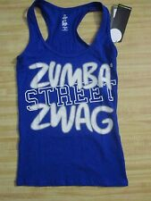 Women Top XS Blue Street Swag Solid Racerback Cotton Spandex Zumba