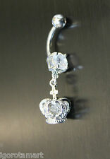 Crystal Crown Belly Navel Barbell Bar Ring Body Jewelry Pier - Christmas Gift