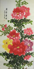 Chinese handed scroll colour painting peony flower wall or home decoration