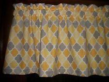 Gray Yellow Ogee Lattice Quatrefoil fabric topper kitchen curtain Valance