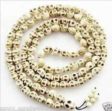 Rare 108 Beads Buddhist Tibetan Carved Skull White Turquoise Prayer necklace