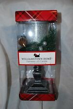 """WILLIAMSTOWN HOME FLAMELESS LED PEDESTAL CHRISTMAS CANDLE SILVER GLITTER 12"""" NEW"""