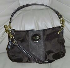 Coach Signature Stripe Demi Crossbody Bag Dark Brown